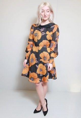 Vintage 1960's Premium Black & Orange Poppy Print Dress