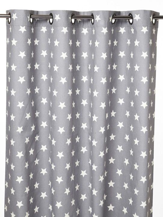 vorhang bedruckt baumwolle sen beige sterne blau fischgrat blaugrau sterne marine sterne. Black Bedroom Furniture Sets. Home Design Ideas