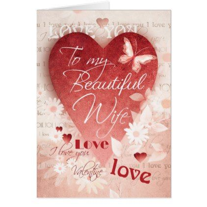 Valentine\'s Day Wife Big Heart & Flowers Card - valentines day ...