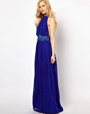 Lydia bright maxi dress with lace trim