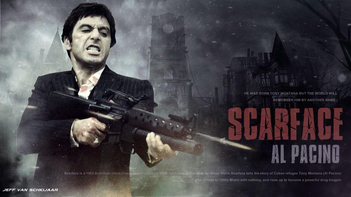 SCARFACE MOVIE POSTER AL PACINO TONY MONTANA A4 A3 SIZE CLASSIC FILM GUNS