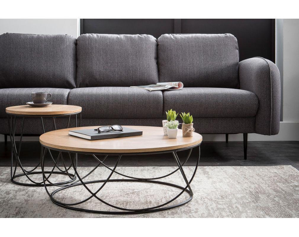 Table Basse Ronde Bois Et Metal Noir D80 X H30 Cm Lace Miliboo Table Basse Ronde Bois Table Basse Ronde Table Basse