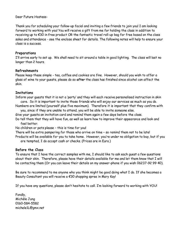 roll up bag closing sheet mary kay Hostess Letter _ Outside - order letter