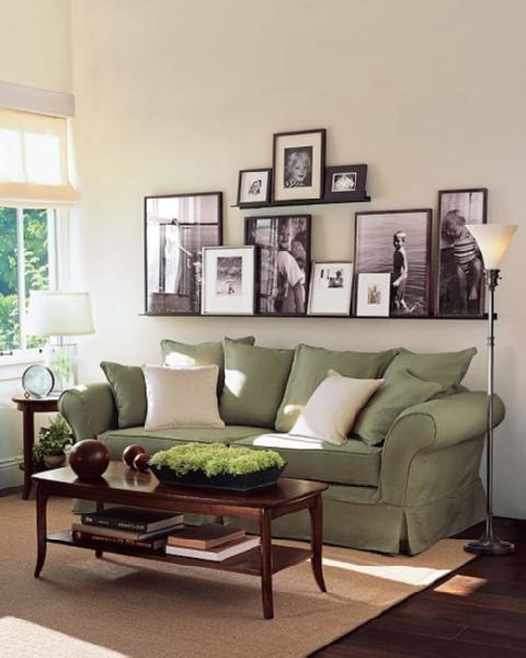 Cómo colocar cuadros, fotos... en la pared de encima del sofá.