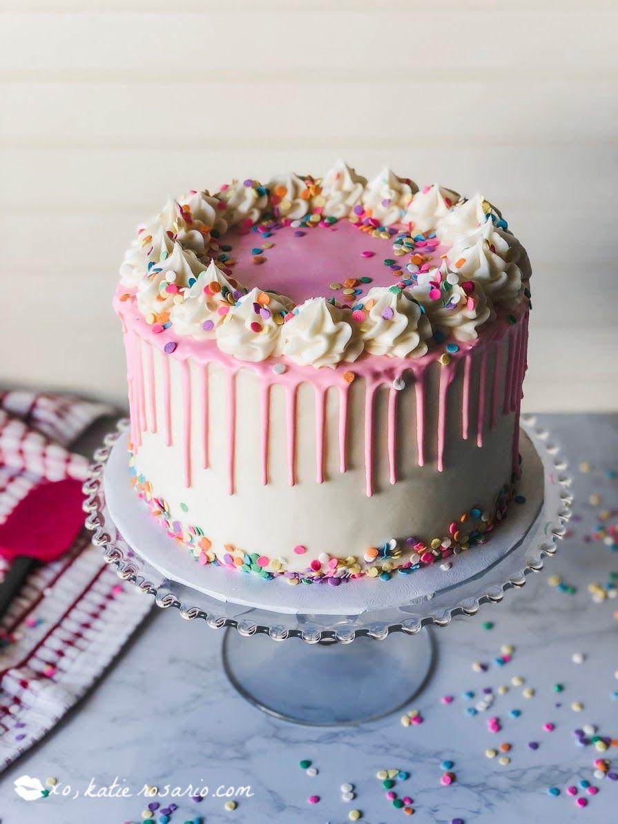 Phenomenal Foolproof Funfetti Birthday Cake Recipe With Images Drip Birthday Cards Printable Benkemecafe Filternl