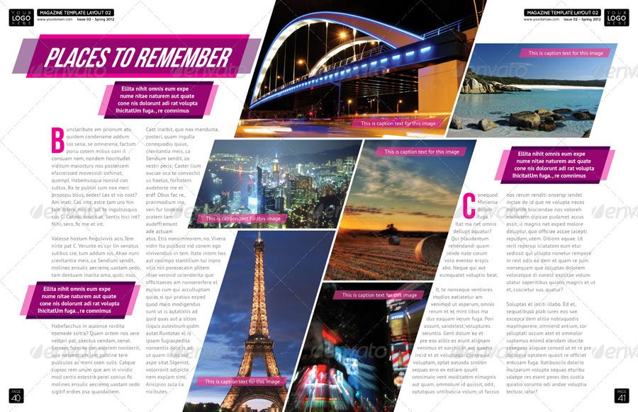 Magazine Template - InDesign 56 Page Layout V1 | Yearbook Spread ...