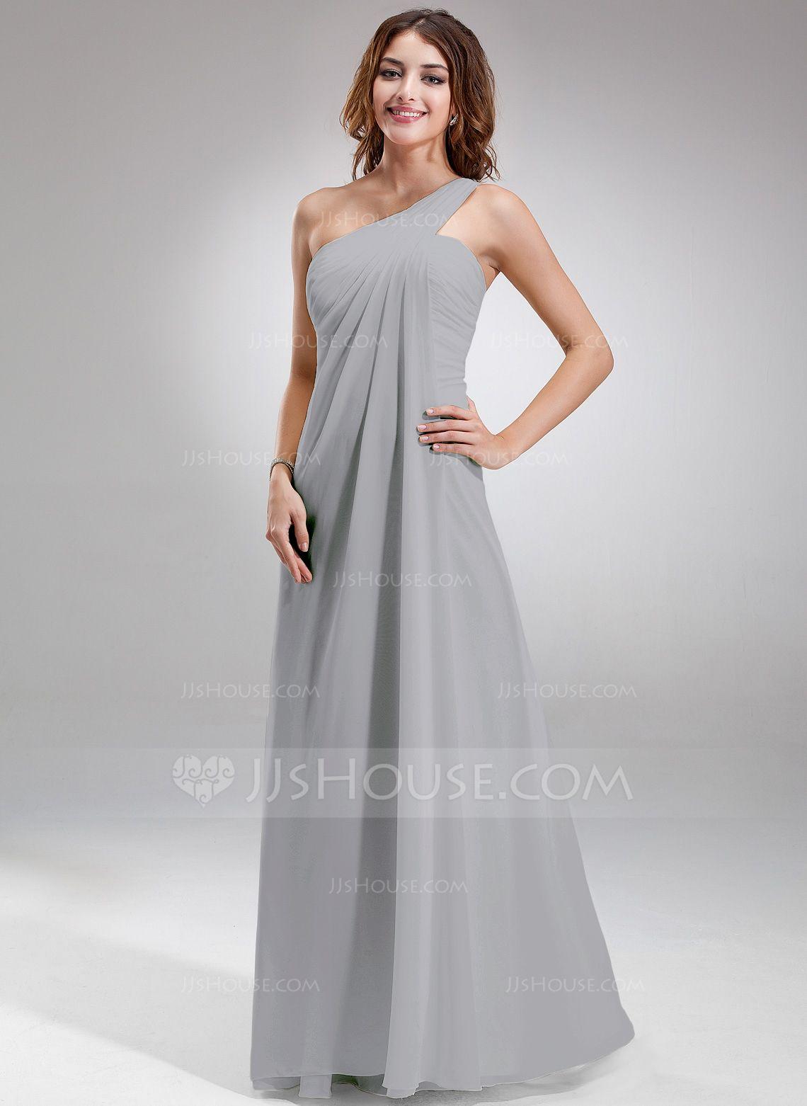 f2c2163cc86 Long One Shoulder Bridesmaid Dress With Ruffles - Gomes Weine AG