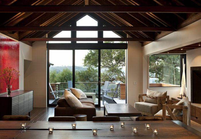 wohnzimmereinrichtung ideen holzmöbel panoramafenster kerzen
