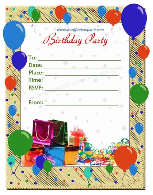 Birthday Invitation Template Word Sample Birthday Invitation Template 40  Documents In Pdf Psd, Invitation Birthday Template Word, Birthday Party  Invitation ...  Free Birthday Card Template Word