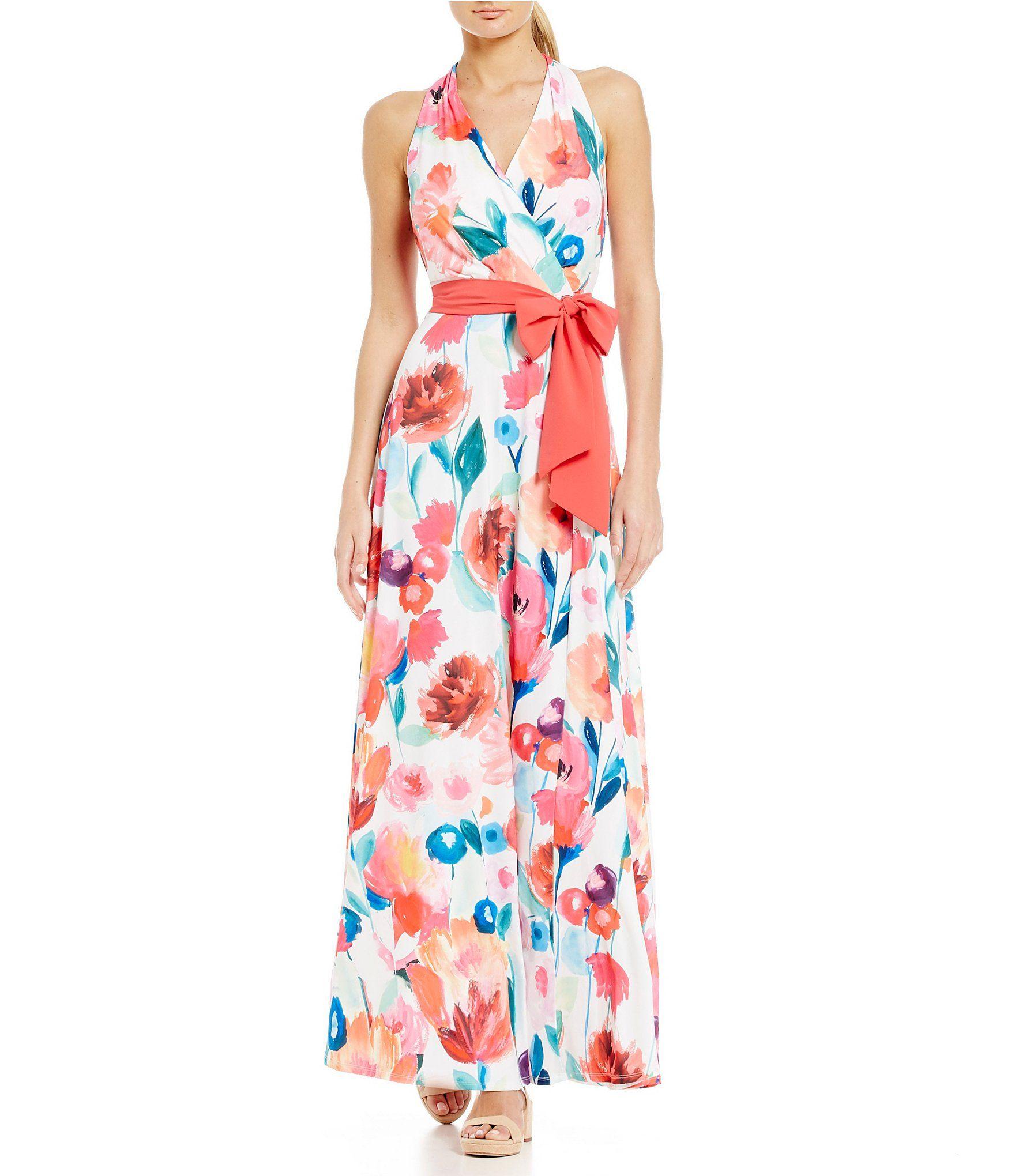 c97ddd3c8e Leslie Fay Floral Halter Maxi Dress  Dillards