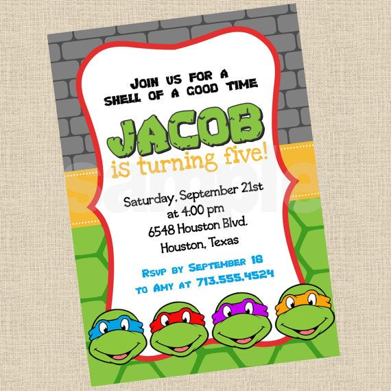 ninja turtle invitation, tmnt invite, ninja turtle party,