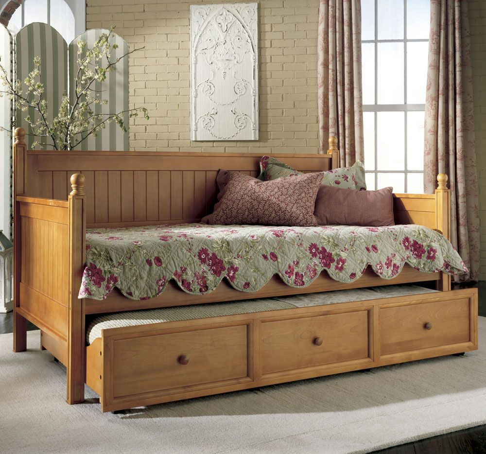 Furniture Vintage Daybed With Trundle Also Cute Floral Mattress