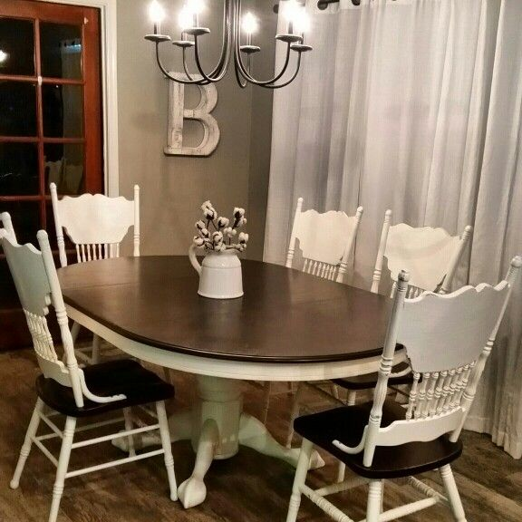 Redoing Dining Room Chairs: White Pressed Back Chairs With Dark Stained Seats. In 2019