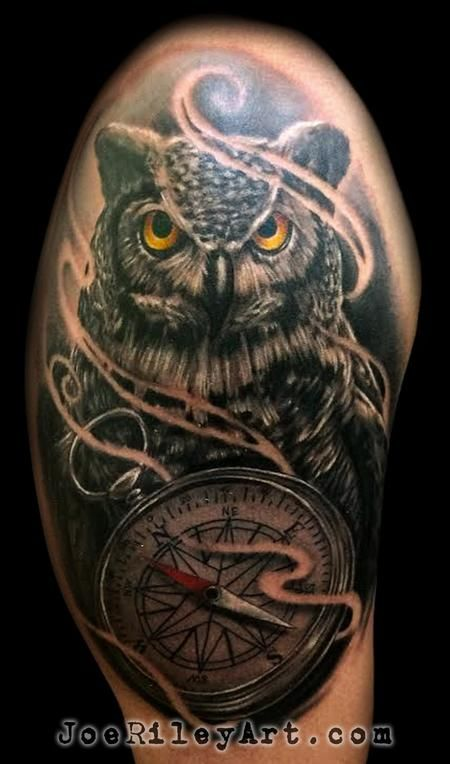 Joe riley owl tattoo las vegas tattoo artist best for Best realism tattoo artist near me