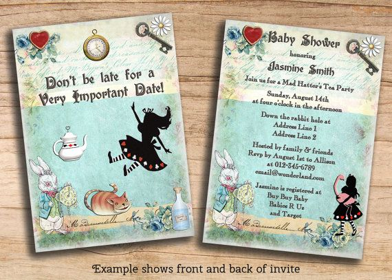 Alice In Wonderland Baby Shower   Birthday etc Printable Cheap - free customizable printable baby shower invitations