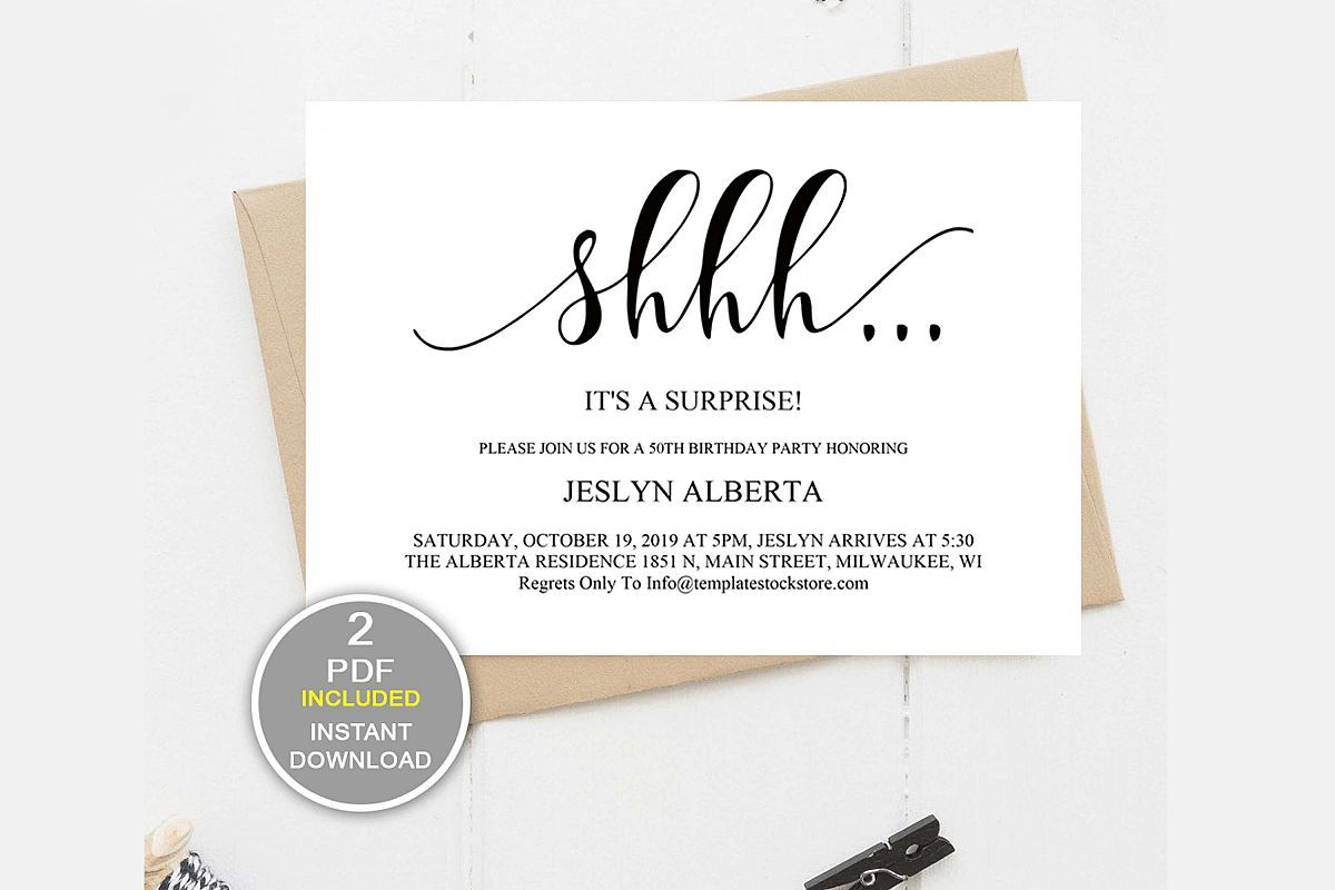 Cool surprise party invitation template download 82 about