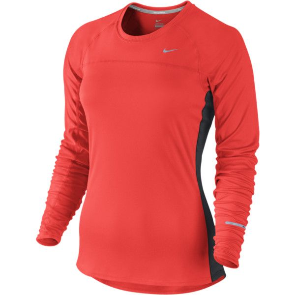 Women Clothing Long-Sleeve Tops Crimson Nike Miler Long Sleeve Running Tee
