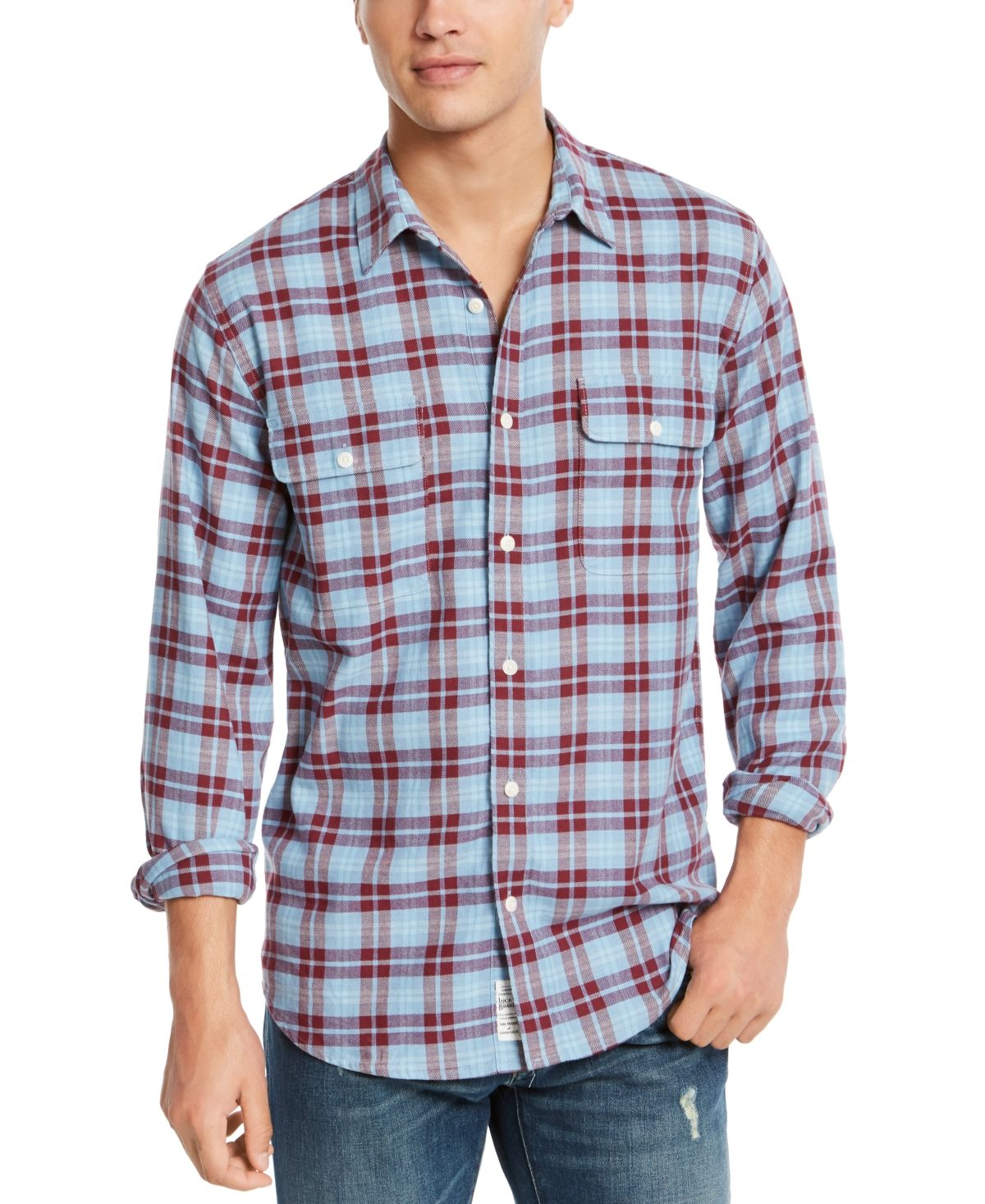 Lucky Brand Men's Saturday Stretch Regular Fit Plaid Shirt