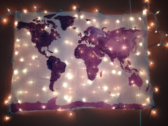 World Map Wall Tapestry in Navy Tapestry, Wall tapestries and Neon - best of world map fabric etsy