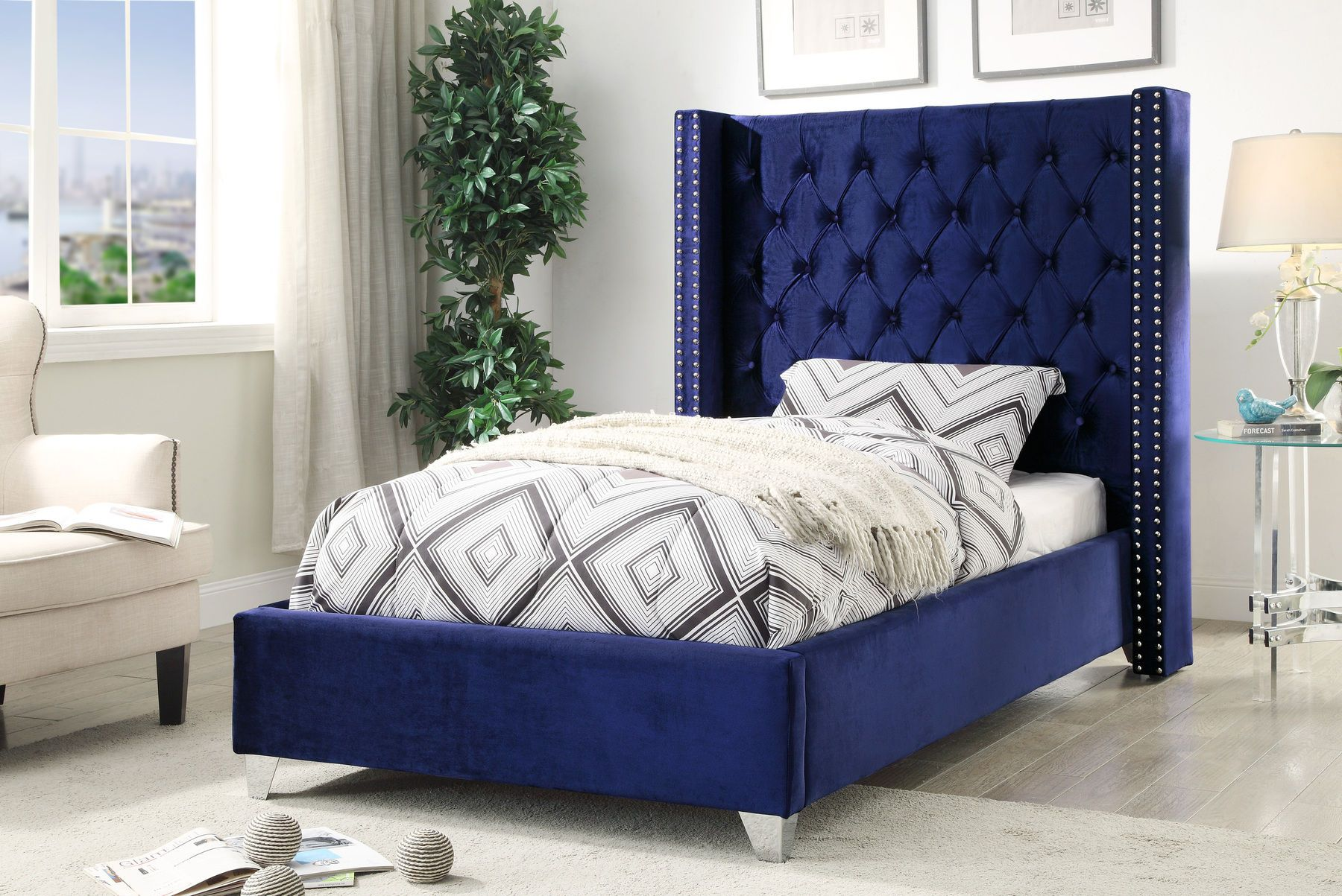 Aiden Navy Twin Size Bed Upholstered Platform Bed Meridian