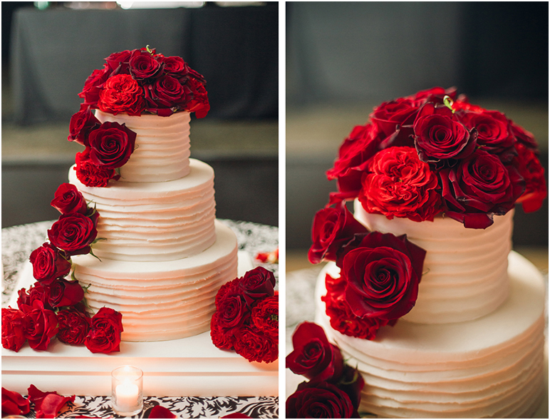 Classic Fall Wedding Black And White With Crimson Red Roses