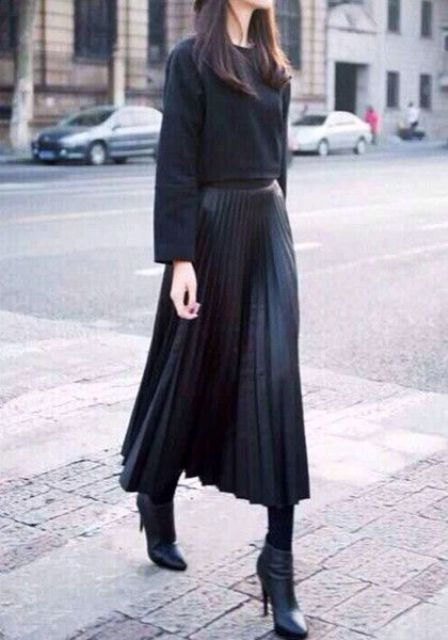 16 feminine pleated midi skirt for fall and winter
