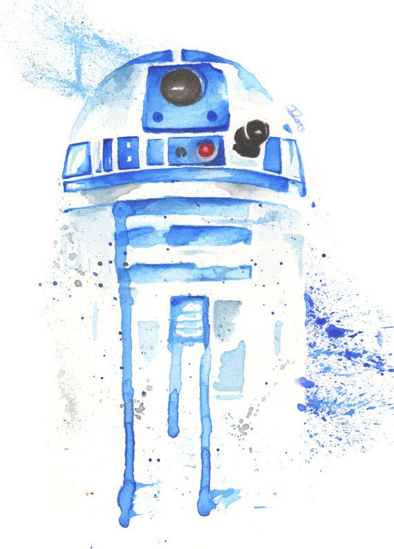 R2d2 Droid Watercolor Art Print Star Wars Decor Paint Star Wars Fan Art Acuarela Arte Impresionista