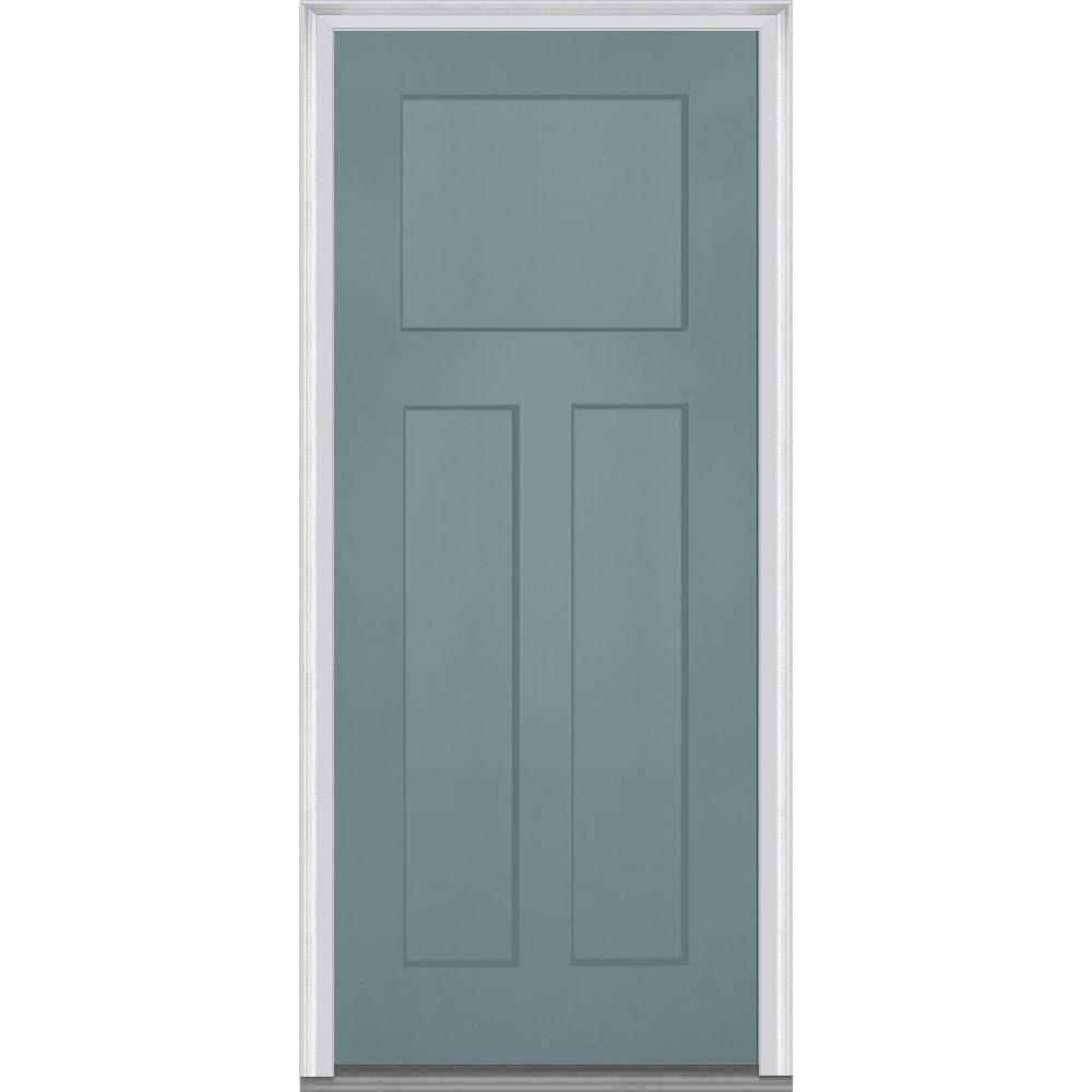 Mmi Door 36 In X 80 In Left Hand Inswing Craftsman 3 Panel Shaker Classic Painted Fiberglass Smooth Prehung Front Door Z015493l Exterior Doors Prehung Doors
