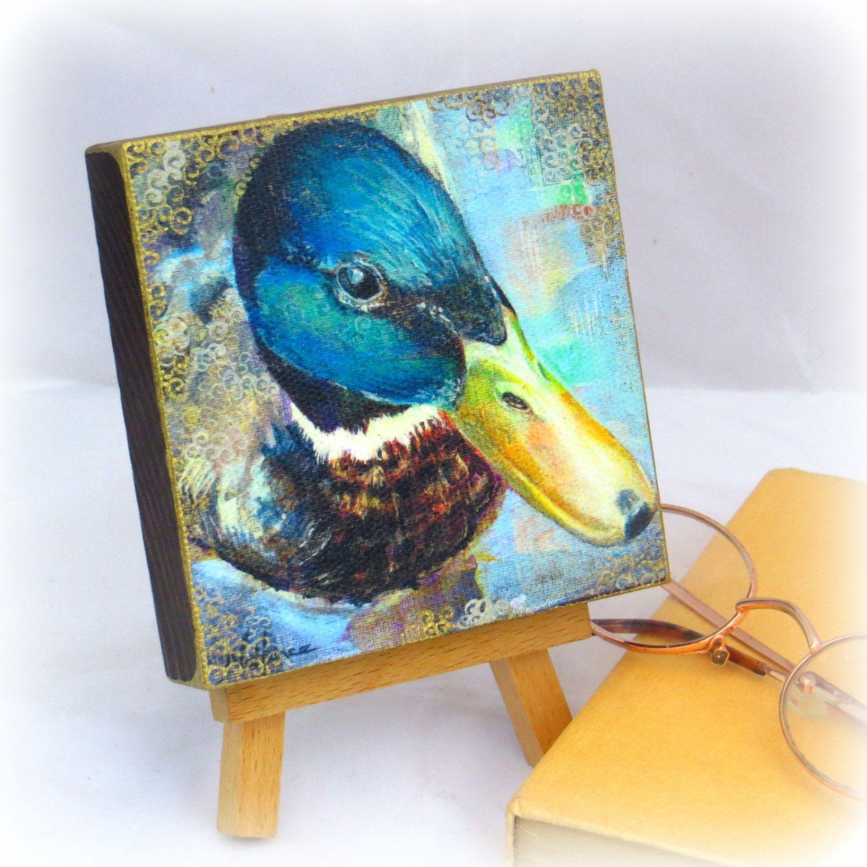 Duck Mallard Print Small Square Woodblock Hand Finished