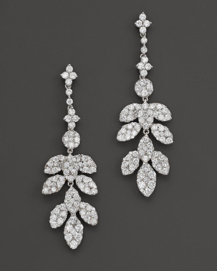 Diamond Leaf Drop Earrings In 14k White Gold 2 45 Ct T W