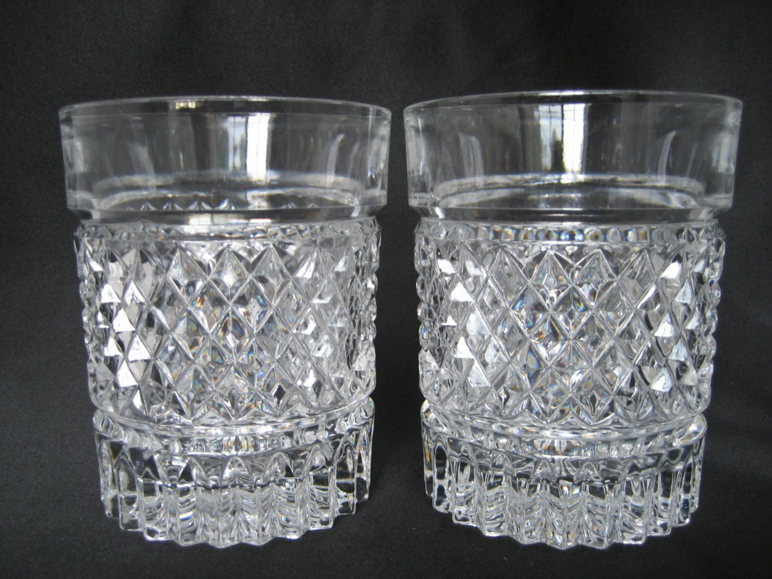 7 Oz Crystal Cut Beverage Glasses Vintage Highball Cocktail Glasses 6 pc Set