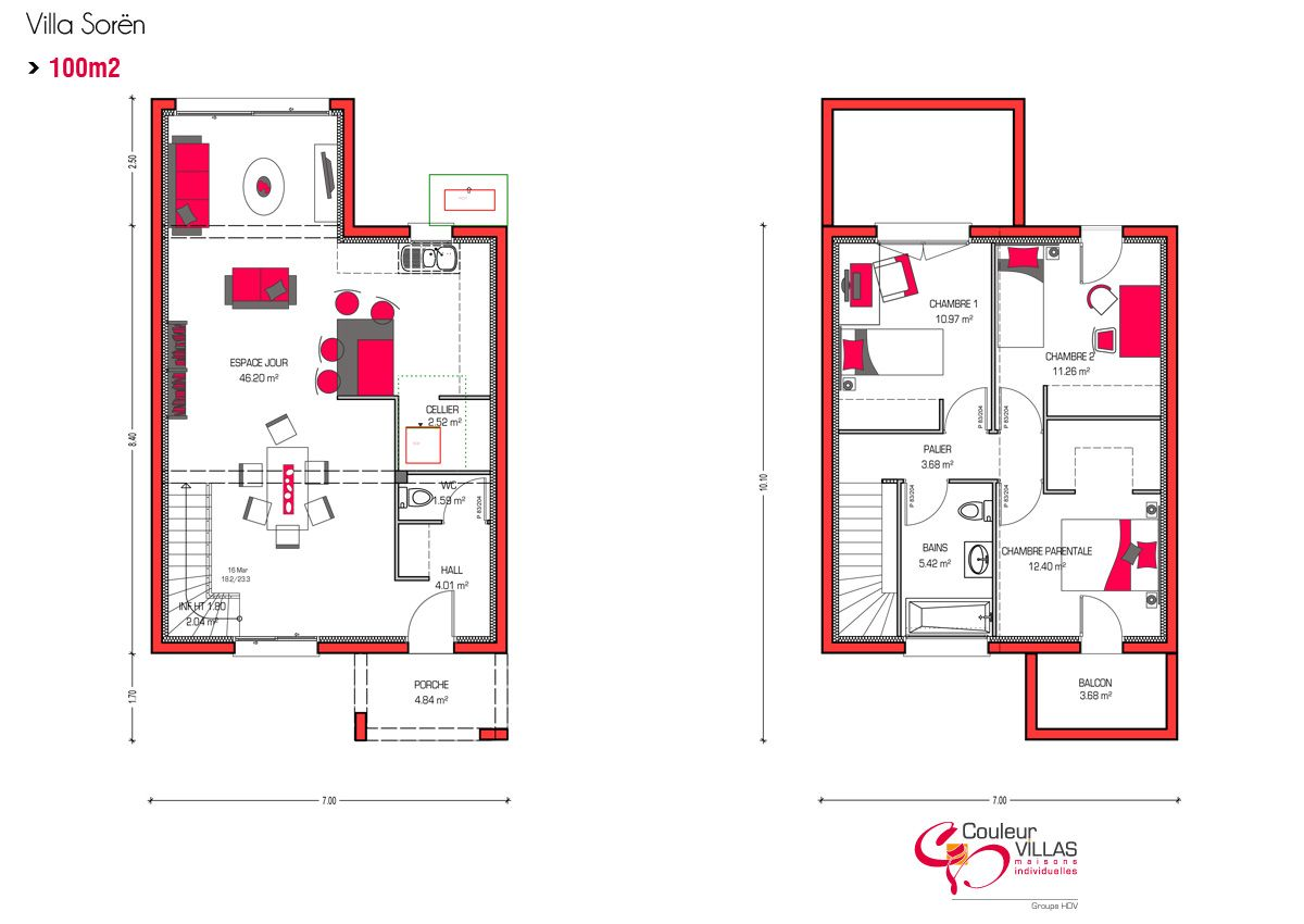 Plan villa soren 100m2 2015 09 villas pinterest villas for 100m2 floor plan