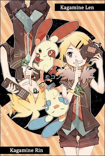 Tags Vocaloid, Kagamine Rin, Kagamine Len, Pokémon