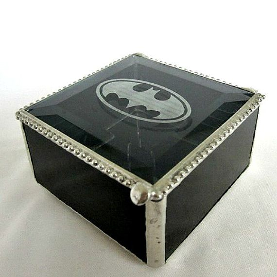 Black Batman Stained Glass Box Gift for Him by shopworksofglass, $35.00