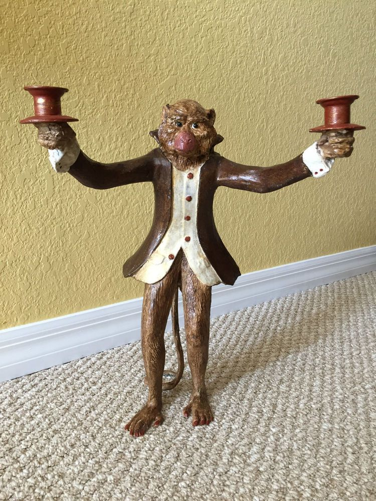 Bill Huebbe Red Coat Monkey Butler Standing Candle Stick
