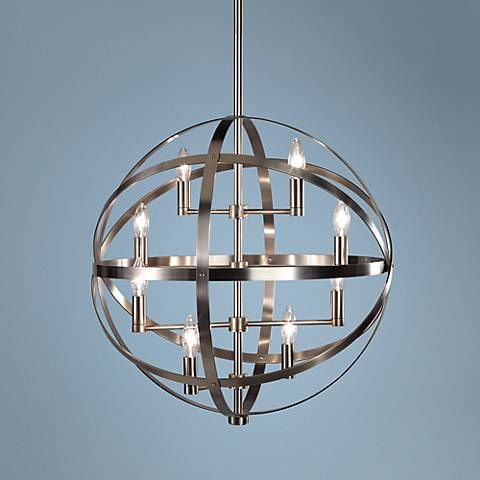 This dark antique nickel pendant is part of the lucy collection from robert abbey