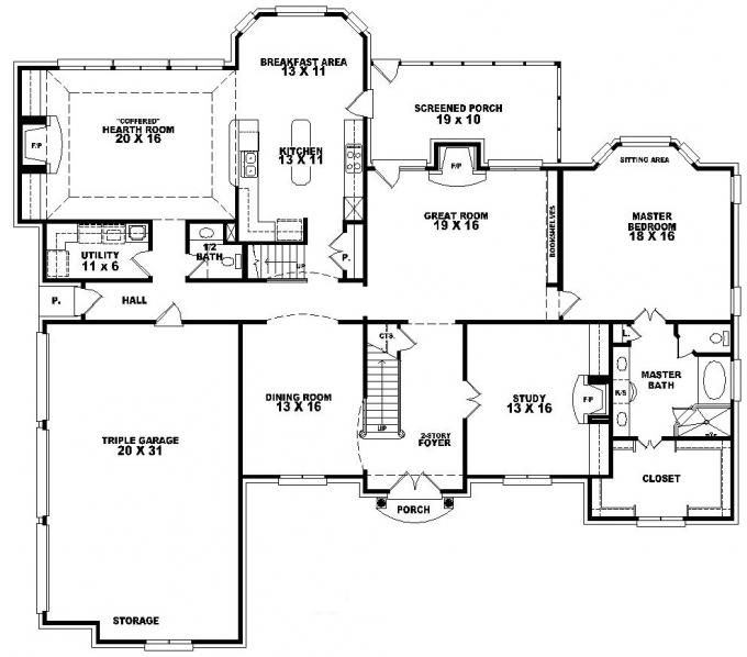 653617 2 story french traditional home with 4 bedrooms for One level house plans with bonus room