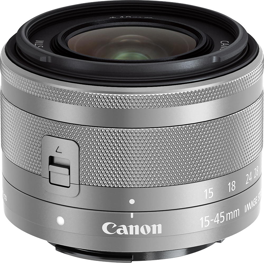 Canon Ef M 15 45mm F 3 5 6 3 Is Stm Standard Zoom Lens For Eos M Series Cameras Silver 0597c002 Best Buy Canon Ef Canon Lens Standard Zoom Lens