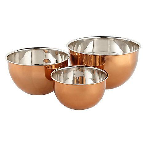 510a5914e6e1 Buy John Lewis Croft Collection Copper Mixing Bowls, Set of 3 Online at  johnlewis.com