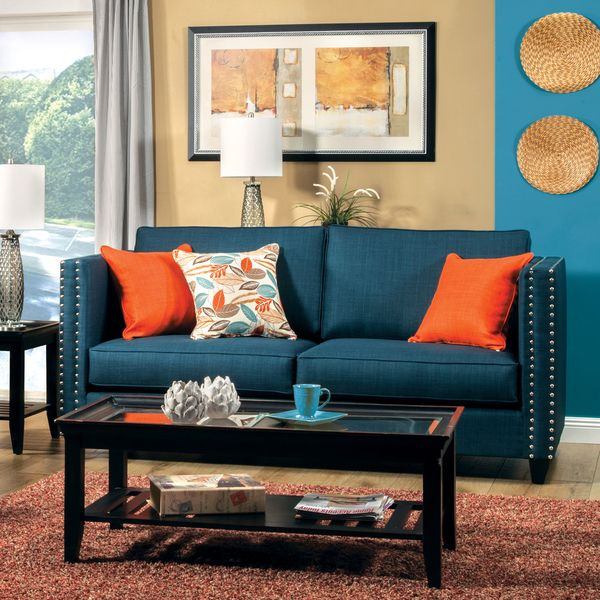 Furniture Of America Jaymie Tuxedo Style Dark Turquoise Sofa   Overstock  Shopping   Great Deals On