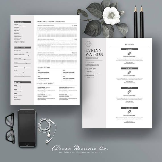 Resume Template 4Pages for Freelance Journalist - CV Template