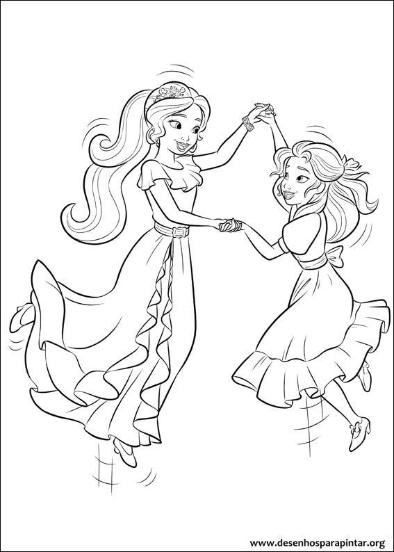 Princess Isabel And Elena Of Avalor Colouring Page Cartoon