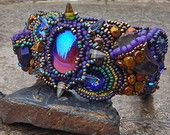 Glitter And Grunge Bead Embroidered Cuff With Vintage Glass, Titanium Quartz And Beetle Wings