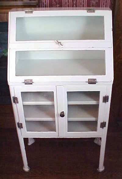Medical Cabinet Antique Free Standing Metal Legs Small Size Fits Great Into A Bathroom For Towels Etc Sold