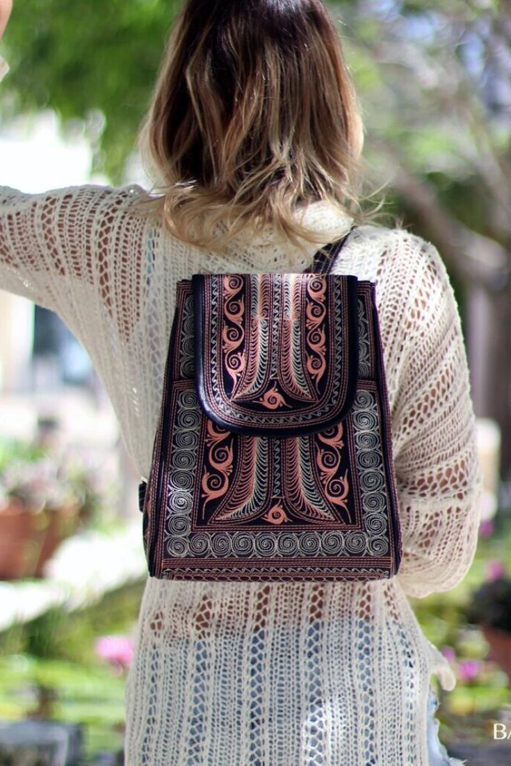 Handsfree and head-turning, the backpack has never looked so chic! It is made from 100% cruelty-free material and features handmade, traditional patterns by our local artisans. #bags #handbag #handmade #womenbag #fashionbag #veganbag #travebag #bag #accessories #handcrafted #purse #handmadebag