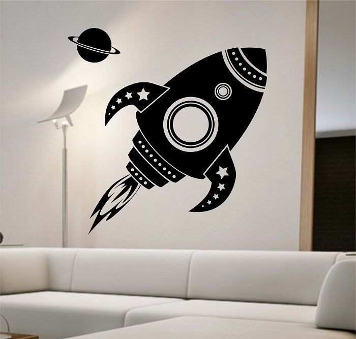Rocketship Wall Decal Sticker Art Decor Bedroom Design Mural Interior Stars Space Station Sky Kids