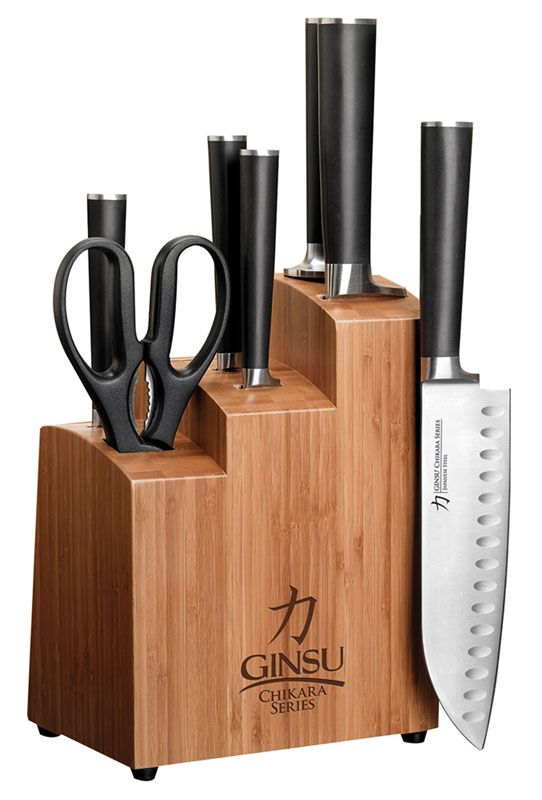 Ginsu 7108 Chikara Stainless Steel Knife Set With Bamboo Block Kitchen Dining