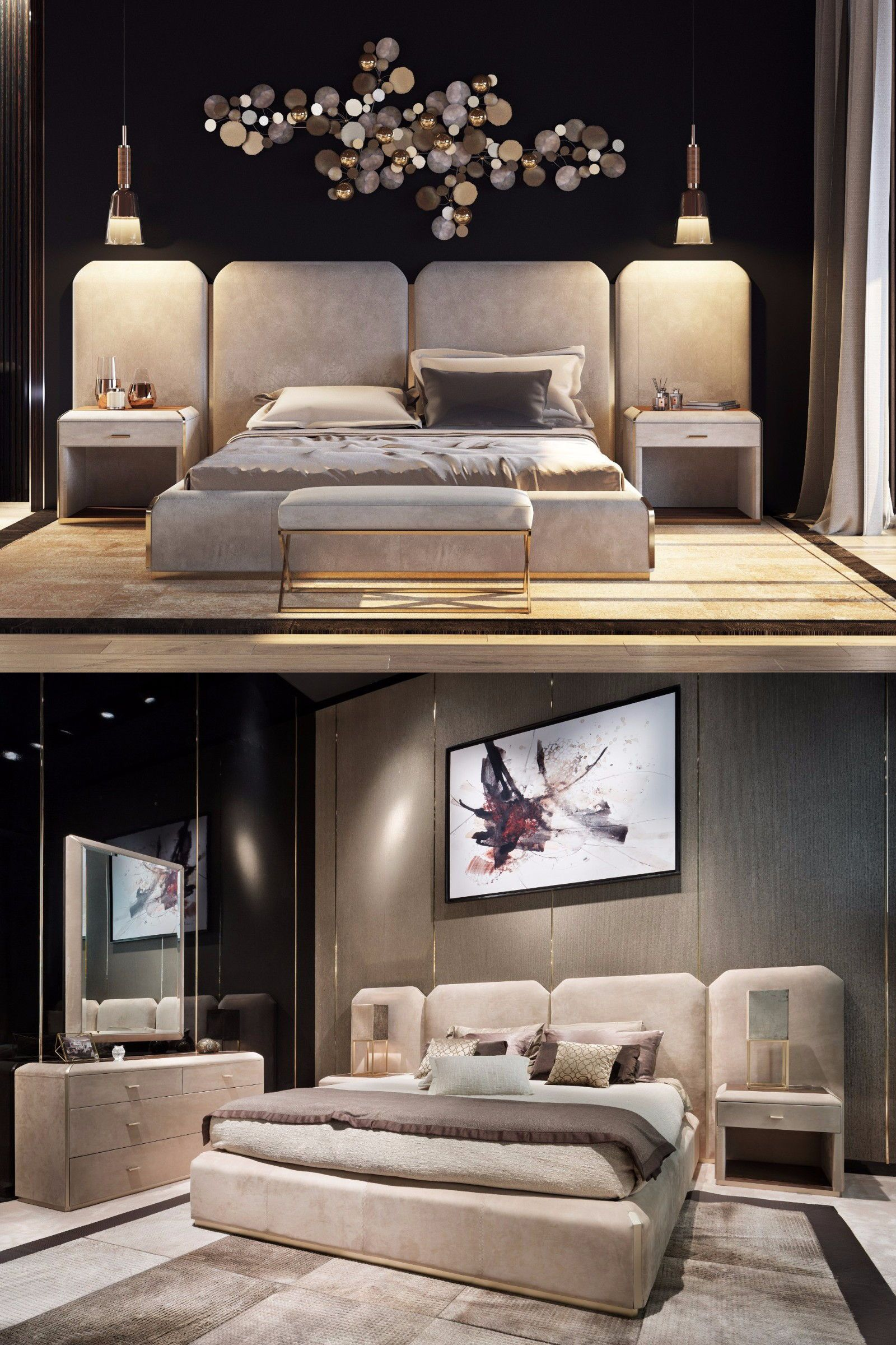 Modern Style Bed Brown W3600 D2220 H1340 Selected High Grade