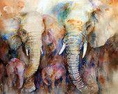 Elephant Family Animal Art Elephant Painting Watercolor Wall Art Original