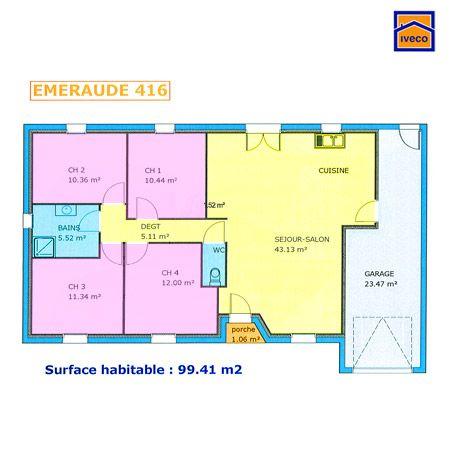 Plan maison plein pied 4 chambres maison pinterest for Plan maison minimaliste